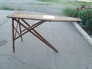 J R Vintage Primitive Old J R Clark Used Folding Wood Ironing Board