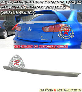 Mr style Rear Trunk Lip Spoiler Wing abs Fits 08 16 Mitsubishi Lancer Evo 10 X
