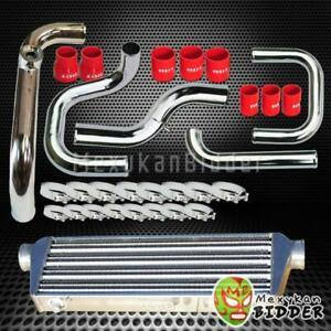 Chrome Intercooler Piping Ssqv Bov Flange Red Couplers Kit For Honda Civic
