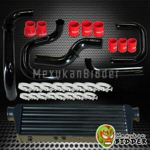Black Intercooler Piping S rs Bov Flange Red Couplers Kit For Honda Civic