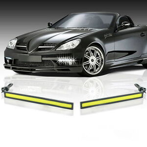 2pcs Waterproof 12v Led Cob Car Drl Driving Daytime Running Lamp Fog Lights Sr