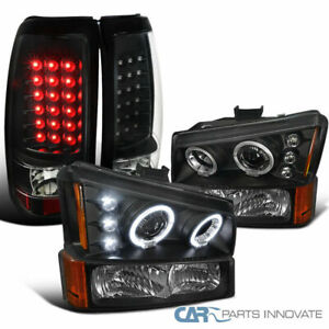 03 07 Silverado Black Halo Projector Headlights bumper Lamps led Tail Lights