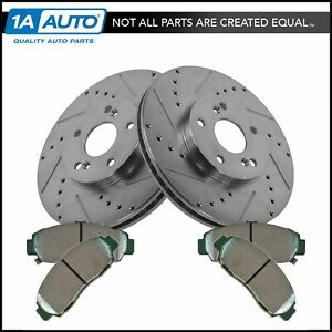 Front Posi Ceramic Brake Pads Performance Drilled Slotted Zinc Coated Rotors