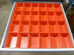 24 4 x6 x3 Red Plastic Boxes For Vertical Lift Storage System Bins Trays Cups