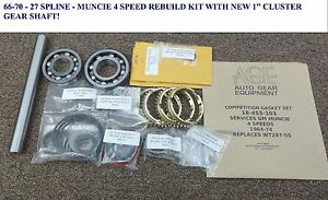 New 66 Thru 70 27 Spline Muncie 4 Speed Rebuild Kit W 1 Cluster Gear Shaft