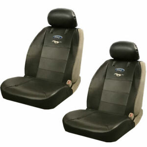 2 Piece Front Pony Synthetic Leather Sideless Seat Cover Set For Ford Mustang