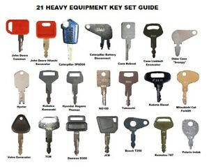 21 Keys Heavy Equipment Construction Ignition Key Set Case Cat Komatsu Deere