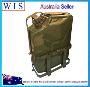 2 pk 20l Gas Jerry Can Fuel Steel Tank Military Grn W Pouring Spout