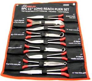 9 Pc 11 Long Nose Plier Set Long Reach Circle Bent Needle Nose Diagonal Cutter