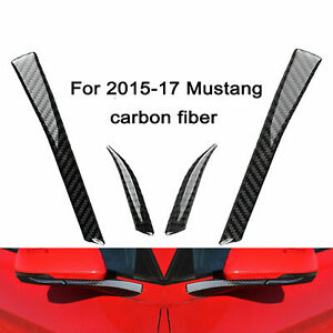 Carbon Fiber Rear View Mirror Decor Trim Sticker For 2015 2017 Ford Mustang