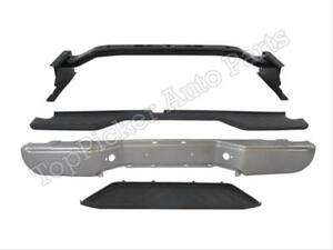 For 2005 2006 Frontier Rear Bumper Face Bar Silver Hitch Bar Top Low Pad 4pcs