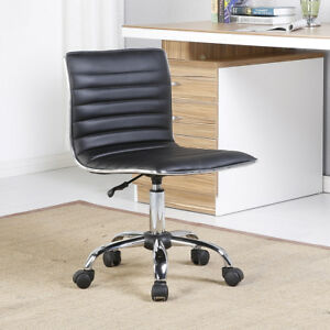 Modern Mid back Black Ribbed Upholstered Pu Leather Executive Office Chair Desk
