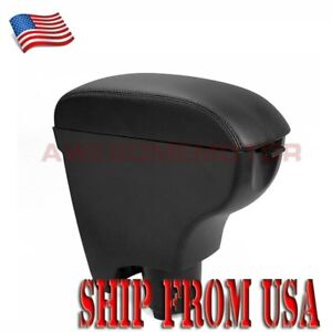 Us Blk Center Armrest Leather Console Box Cup Holder For 06 10 Toyota Yaris Am