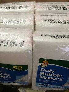 6x25pk Duck Brand Bubble Wrap Cushioned Poly Mailers White 2 8 5 x11
