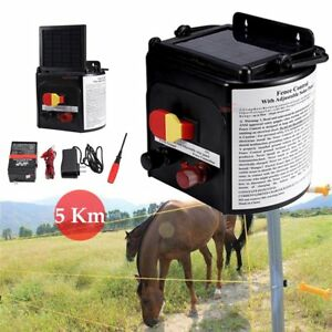 Solar Powered Electric Fence Charger Farm Horses Cattle Adjustable Control 0 15j