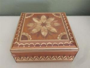 Bamboo Inlay On Wooden Trinket Box With Hinged Lid Very Intricate Design