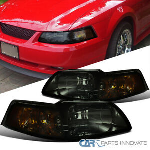 99 04 Ford Mustang Gt Replacement Smoke Headlights Corner Turn Signal Lamps Pair