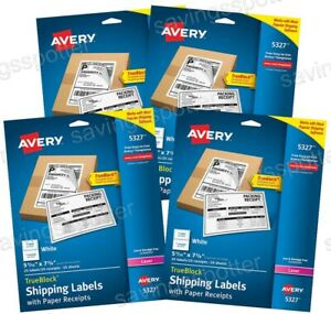 100 Ct Avery 5327 White Shipping Labels W Paper Receipts 5 1 16 X 7 5 8 Laser