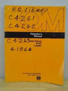 Oem John Deere 644 D Front End Loader Operators Maintenance Manual Om t81869
