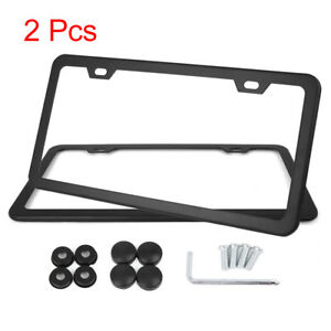2pcs Stainless Steel Car Front Rear License Plate Frame W Screw Cap 2 Hole Black