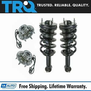 4 Piece Steering Suspension Kit Complete Strut Spring Assembly Wheel Bearings