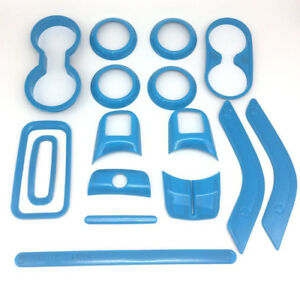 Light Blue 16pcs Mouldings Interior Dashboard Trim For Jeep Wrangler Jk 2 door