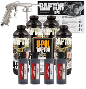 U Pol Raptor Tintable Black Metallic Bed Liner Kit W Spray Gun 4 Liters Upol