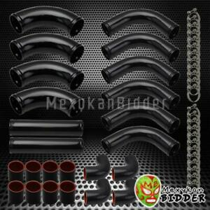 Diy 12pc 2 5 Turbo Intercooler Piping Kit Black Pipes black Couplers t Clamps