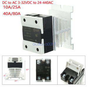 Dc 3 32v To Ac 24 440v Solid State Relay Module Ssr Heat Sink 10a 25a 40a 80a