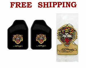 New Ed Hardy Wild Tiger Car Truck Carpet Floor Mats Air Freshener Set