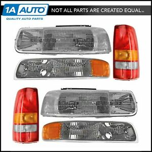 Headlight Parking Light Tail Lamp Kit Set Of 6 For 99 02 Chevy Silverado Truck