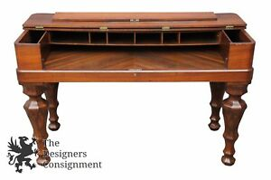 Antique 19th Century 53 Walnut Spinet Piano Desk Flip Top Turned Leg Sofa Table