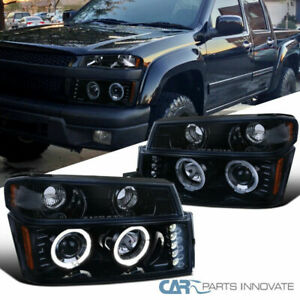04 12 Colorado Canyon Glossy Black Halo Projector Headlights Corner Signal Lamps