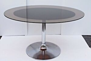 Mid Century Modern Eames Style Smoked Glass Top Dining Table