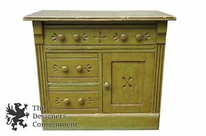 Antique Victorian Eastlake Style Distressed Green Dresser Side Cabinet Washstand