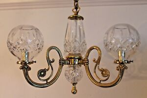 Mid Century Mint Signed Waterford Chandelier Gasolier Style Leaded Crystal