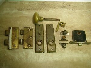 Lot Of 10 Antique Brass Hardware Door Knob Drawers Curtains 2 Hinges