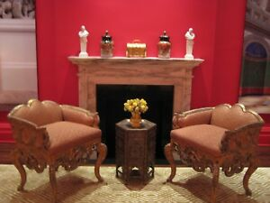 19k Pair Accent Arm Chairs Italian Venetian Rococo Silvery Gold Fortuny Venice