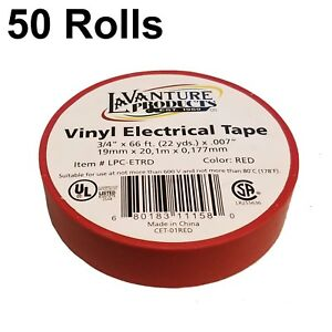 50 Rolls Of Red Electrical Tape 3 4 X 66ft Trailer Rv Wires Lavanture