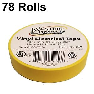 78 Rolls Of Yellow Electrical Tape 3 4 X 66ft Trailer Rv Wires Lavanture
