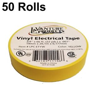 50 Rolls Of Yellow Electrical Tape 3 4 X 66ft Trailer Rv Wires Lavanture