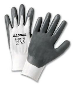 Radnor Gray Nitrile Palm Coated Work Gloves With White Liner 12 pack Large