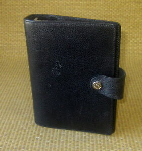 Compact personal 1 Rings Black Leather Santa Marinella Open Planner binder