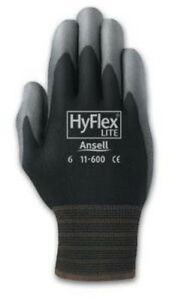 Ansell 11 600 Hyflex Polyurethane Palm Coated Black Gloves Size 10 pack Of 12