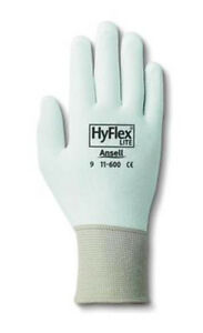 Ansell 11 600 Hyflex Polyurethane Palm Coated White Gloves Size 8 pack Of 12
