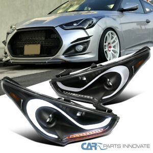 12 17 For Hyundai Veloster Led Drl Sequential Signals Projector Headlights Black
