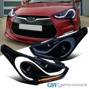 12 15 For Veloster Glossy Black Led Sequential Signal Projector Headlights