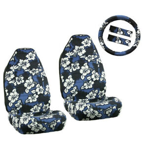 New Blue Hawaiian Hibiscus Floral Car Front Seat Covers Steering Wheel Cover