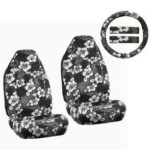 New Black Hawaiian Hibiscus Floral Car Front Seat Covers Steering Wheel Cover