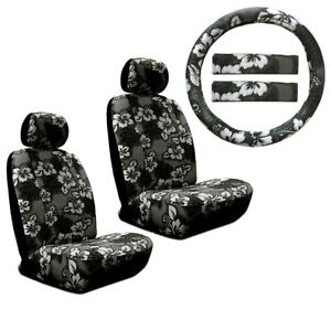 New Black Hawaiian Flower Hibiscus Car Front Seat Covers Steering Wheel Cover